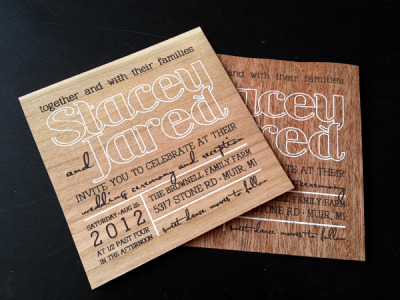 another screen printed invite on wood veneer! this time the client already purchased different types of wood and we had to cut each one down. two different types of invites (one for the ceremony/reception and one for the reception only). 2 color screen print. registration is difficult on these so the design needs to have a loose registration. thanks to stacey and jared for the opportunity to print these!