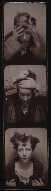 mianoti:  Photo booth/photomaton shots of Marie-Berthe Aurenche, Max Ernst's second wife, c.1929. She would later become the mistress of artist Chaim Soutine, and she was buried with him after her suicide in 1960. Not much else is known about her life, which makes these images all the more haunting. Also. Her grave. In brief.