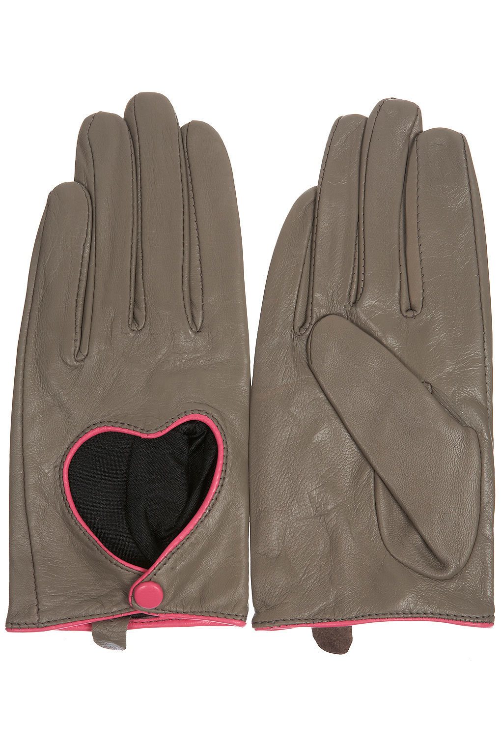 Heart Cutout Leather Gloves from Topshop