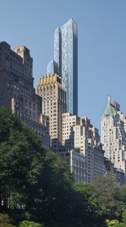 skyscraper:  Computer rendering for One57, currently under construction in Manhattan. When completed, it will reach 306m, making it one of the tallest buildings in the city.