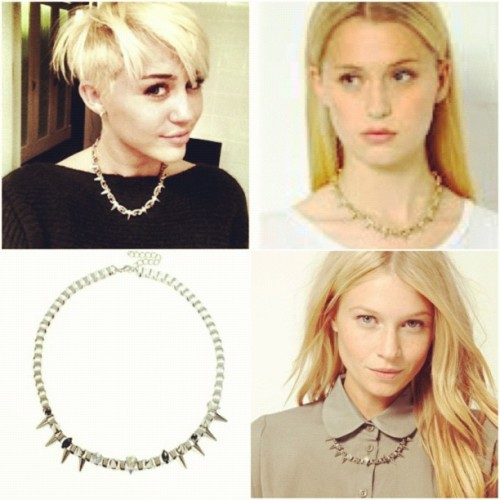 wtfyamunaomg:  I've been obsessed with #mileycyrus spiked necklace because I feel it looks like the thorn crown worn by Christ..is that just me? Miley's necklace is from Joomi Lim which retails for 130 pounds. I found this close enough dup from Asos for $17.51. I'm buying it, hope it doesn't disappoint me like the double horned necklace from forever 21. Wish me luck ! (Taken with Instagram)