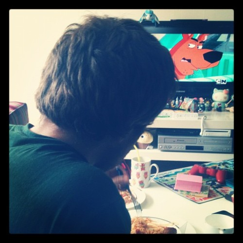 In his green shirt and messy red-brown hair, I'm just now realizing Matt is Shaggy.  (Taken with Instagram)