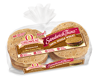 Orowheat sandwich thins are Really tasty! They're like english muffins and bread mixed together. ^_^100 calories for one, which each is split in half not unlike an english muffin, so you technically get two per serving!