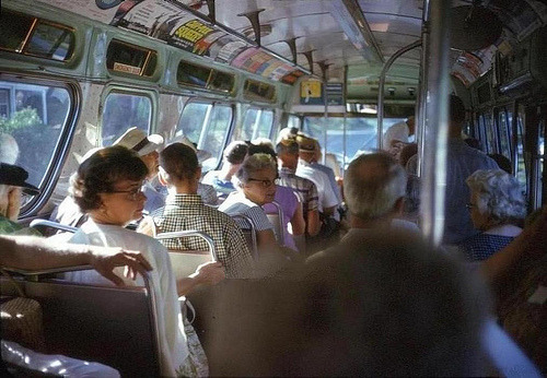 distinguishedcompany:  fuckyeahvintage-retro: Bus interior load of passengers. Virginia, 1966.