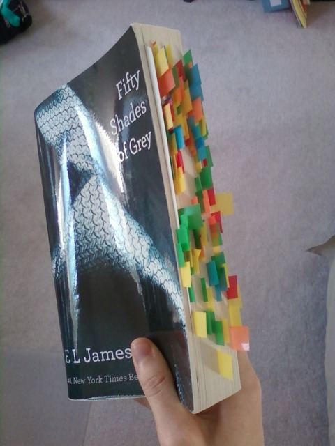 """my mom's copy of 50 shades of grey, i don't want to know what the bookmarks are for"" THIS BLOG. THIS!"