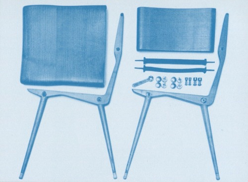 thingsorganizedneatly:  Carlo de Carli, Model 683 chair components. Scanned from Made in Cassina