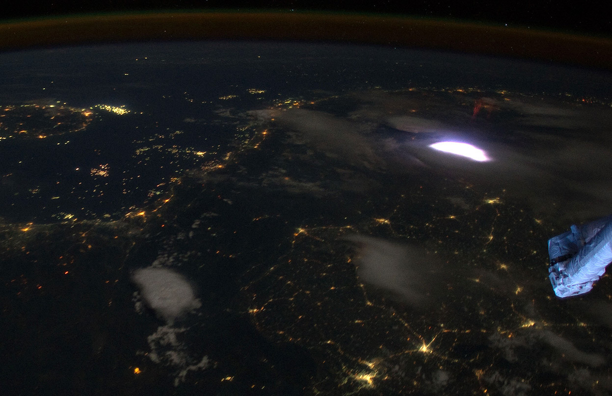 theatlantic:  This is what a lightning strike looks like from space. [Image: NASA]
