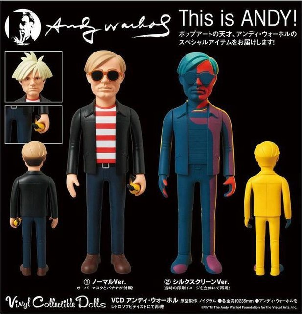 Medicom Toy is gearing up to release a VCD (Vinyl Collectible Doll) version of the legendary Andy Warhol. The 23cm tall vinyl figure comes in two different versions, 'Normal' and 'Silkscreen.' The first is a cartoon version of the man with interchangable hair and a banana, while the second is a figurine of Andy's famous silkscreened self portraits. Look for these to hit select Medicom retailers in October 2012.
