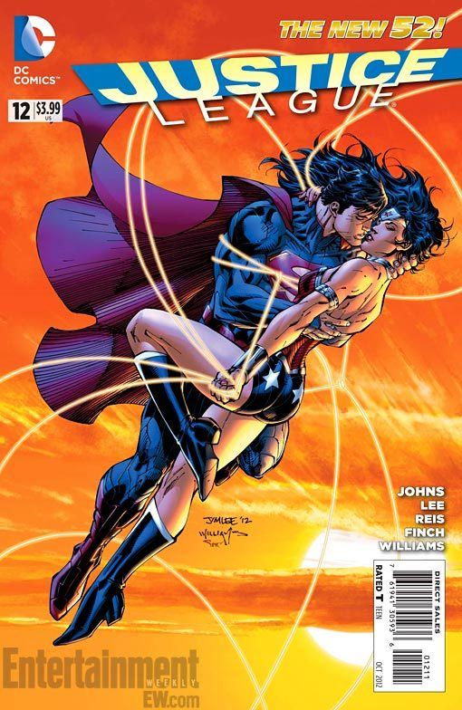 """LOVE Blooms for SUPERMAN & WONDER WOMAN in JUSTICE LEAGUE"" In the pages of this week's Justice League #12, Wonder Woman and Superman begin a relationship, something that's been hinted for the last few issues. DC today released a new cover by series artist Jim Lee that shows Superman and Wonder Woman kissing, with her golden lasso wrapped around the caped hero. ____________________ Meh, he can have her. This just makes him less likely to go after Mary Jane. #ImInLoveWithMaryJane"
