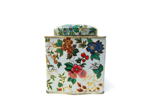 Vintage Floral Tea Tin by Daher. For sale on Etsy.