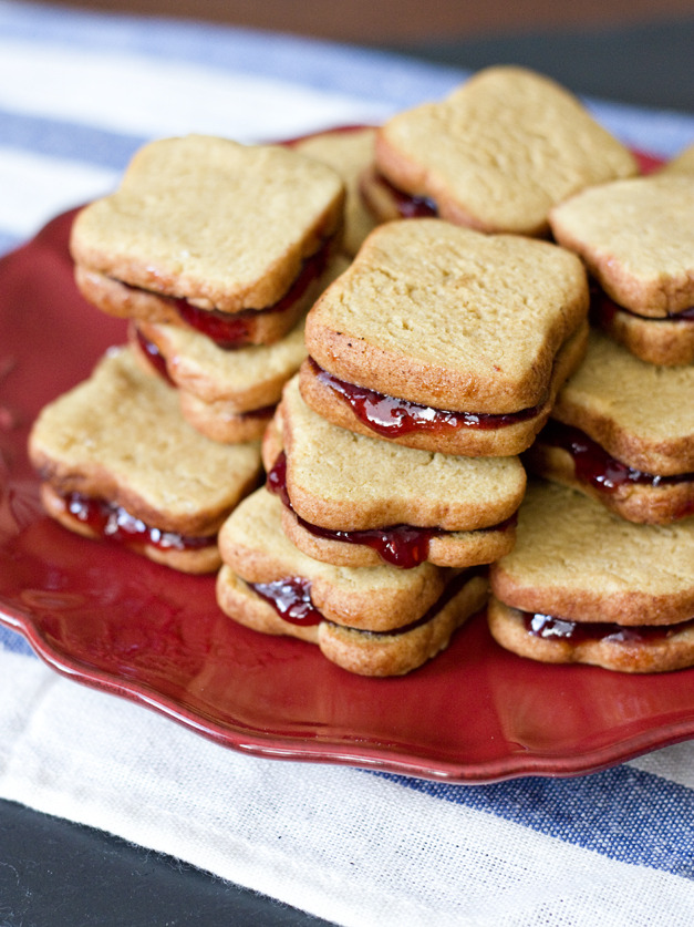 gastrogirl:  peanut butter and jelly sandwich cookies.