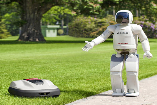 Honda's Robotic Lawn Mower Creates Perfectly Manicured Gardens - PSFK Honda recently introduced the Honda Miimo, the first commercial robotic lawn mower. The perfect solution for those wanting a beautiful lawn but would rather not–or are unable to–mow it themselves, this robotic helper only needs minimal human interaction when working to ensure a beautifully cut lawn, every day, for the length of the mowing season. Honda Miimo operates a 'continuous cutting' system, typically mowing just 2-3mm of grass at a time, several times each week. It cuts in a random pattern, meaning less stress on the grass, more healthy growth and reduced moss and weeds. To prevent the Honda Miimo from running into the neighbor's yard, a boundary wire, installed under the ground or in the grass around the perimeter of the garden, helps Miimo navigate the garden through an intelligent combination of controls, timers and real-time sensory feedback. via PSFK: http://www.psfk.com/2012/08/honda-robotic-lawn-mower.html#ixzz24J4gM672