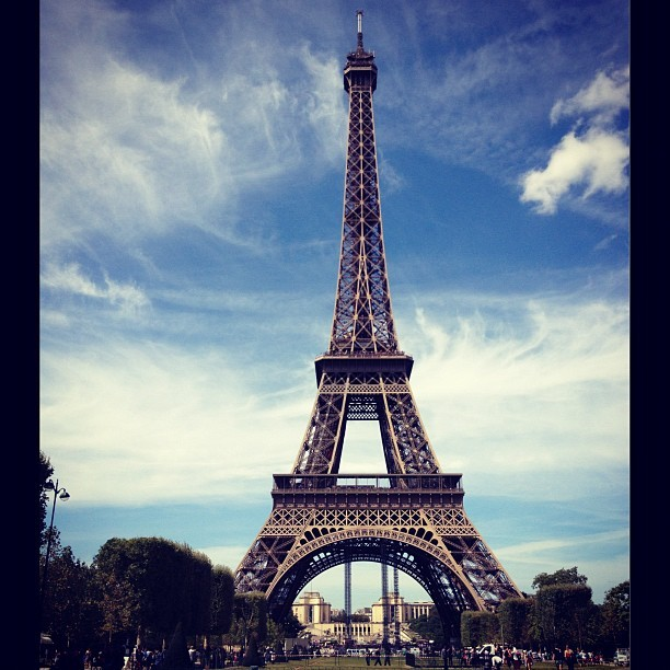 #eiffeltower #paris #france #sky #clouds #summer #august  (Taken with Instagram)