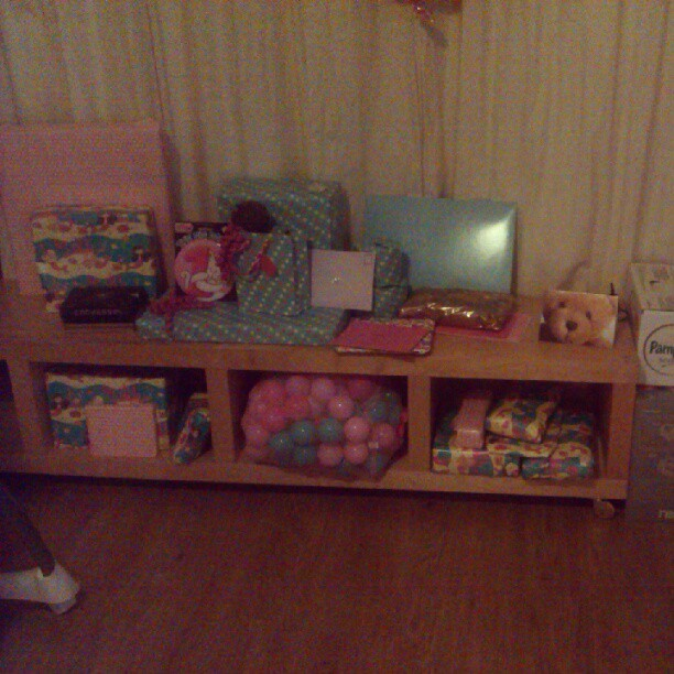 Sophie's birthday pile, all ready for her waking up tomorrow morning! #1st #birthday #babygram #instababy can't believe she's one year old already!  (Taken with Instagram at Home Base Alpha)