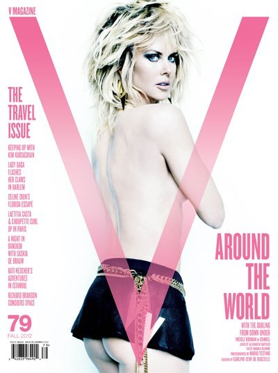 Nicole Kidman and her bum cover V Magazine's #79 Fall 2012 issue shot by Mario Testino