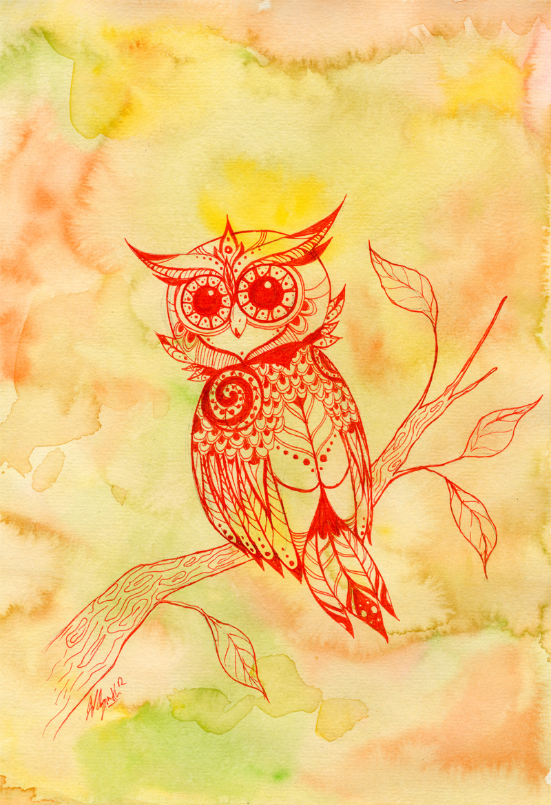 A just for fun owl. Watercolor and red ink.