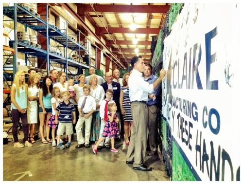 In Iowa, Mitt signs a poster at Le Claire Manufacturing Co. with the family who worked hard to build it. Check out more built by us stories at http://mi.tt/MNjpzS