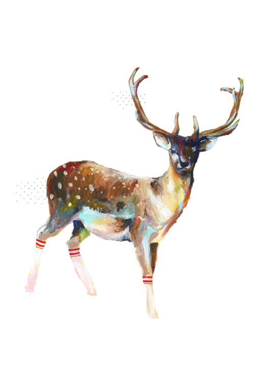 "charmaineolivia:  Now in the shop, my classic Deer in Gym Socks - the piece that ""started it all"" :)Can be found here: http://charmaineoliviashop.com/ 13"" x 19"" in • Limited Edition of 150 prints • Free shipping on all domestic orders I painted this piece in my old bedroom before making the move San Francisco to pursue a creative life. While I liked the piece fine, my growing fanbase loved it, and so I followed a spark that continued to grow. I got increasingly more comfortable with sharing my work to an audience, to the internet. Not long after, this piece was picked up by Urban Outfitters and was carried in their stores nationwide, which was incredibly exciting for me. So I continued sharing my work at all stages and processes along the way. I create art for my own fulfillment, it is my meditation, my quiet but persistent prayer, but I am so grateful every single day that others seem to enjoy the process as well. It allows me the freedom to continue following the waves of inspiration and for those to watch as my work is ever evolving and growing, with me close behind, or in front, i'm not sure. So, my team and I have decided to release this old classic, with other classics to come soon! ♥ ♥ Thank you for everything."