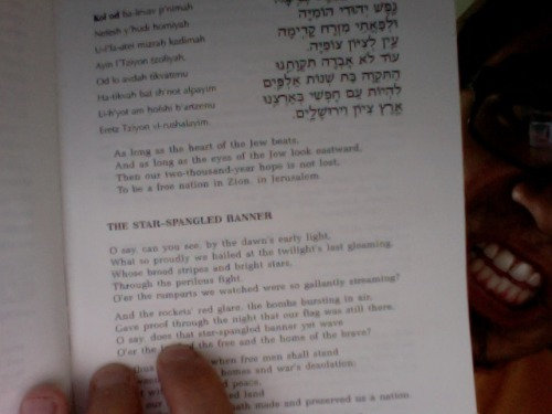 "lol so in the ""additional prayers and poetry"" section of my Shabbat prayer book they put the Star Spangled Banner and O, Canada"