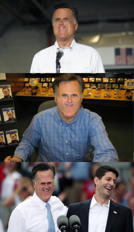 Unsettling Pictures Of Mitt Romney With A Very Tiny Face is our favorite new Tumblr of the day, because of great posts like these and why is this version of Mitt haunting my dreams?