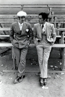 full time swagger: Jean Paul Belmondo and Alain Delon (Borsalino. 1970. Dir. Jacques Deray) #menswear