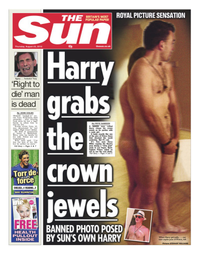"Front page of The Sun (UK) August 23, 2012. ""Banned photo posed by Sun's own Harry"""