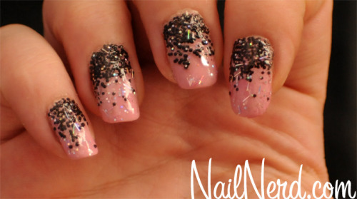 Pink polish with black caviar beads