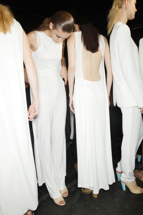 thedoppelganger:  Backstage at Hussein Chalayan Spring 2012 Ready to Wear