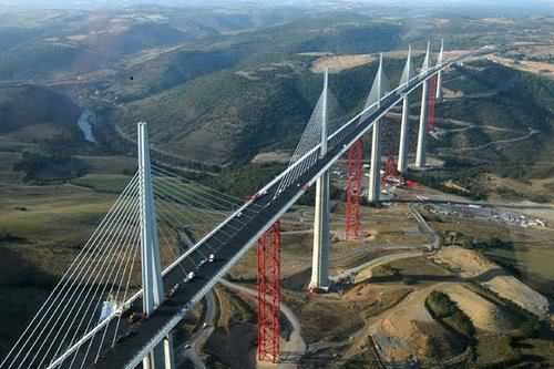 Villau Viaduct Bridge in France. Highest bridge in the world. Awesome Architecture!