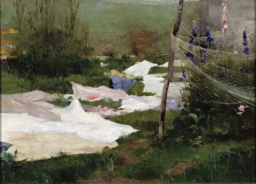 Helene Schjerfbeck, Drying Laundry, 1883.  Oil on canvas, 39 × 55 cm (153/ 8 × 215/ 8 in). Finnish National Gallery, Helsinki.