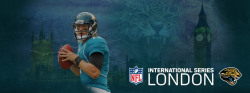 nflnewsandtalk:  Check out this very detailed banner featuring quarterback Blaine Gebbert that was put up on the Jacksonville Jaguars offcial Facebook page! Needless to say, they are wasting no time promoting their series of trips to Wimbley Stadium in England, the first of which will be in 2013.  Beware the Jaguar of the Night. He's larger than a castle and lurks in the shadows.