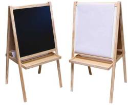 Children's Easel. Shorty easel that has a chalk board on one side and a white dry-erase board on the other. Features a tray crossing the A-frame that holds a roll of paper (included). Great for sidewalk signs.  Available by special order at The Drawing Board.