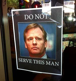 For some reason, Roger Goodell apparently isn't welcome at Jonathan Vilma's restaurant. (Photo via allin1pro on Twitter)