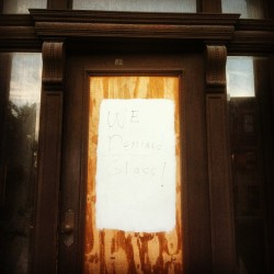 """WE DEMAND GLASS! Tell the Brookline Building Dept"" 181 Harvard St, Brookline MA (Taken with Instagram)"