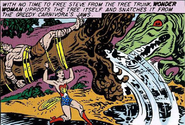 Wonder Woman fights a dinosaur