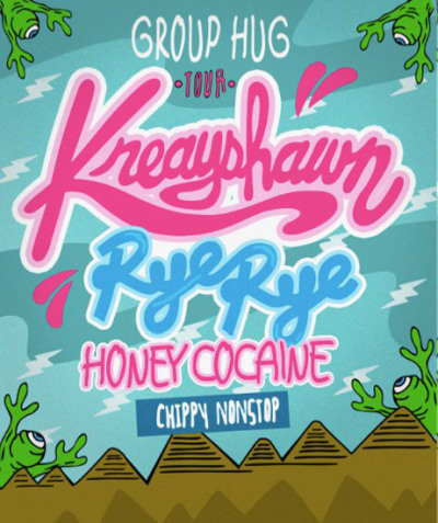 "rapper Kreayshawn has announced dates for her headlining ""Group Hug"" tour with Rye Rye, Honey Cocaine, and Chippy Nonstop…see full schedule here"