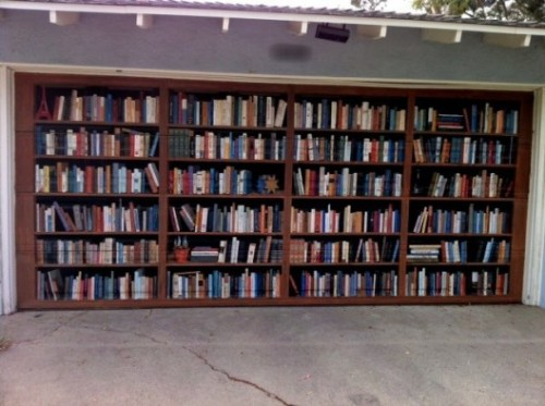 Bookshelf garage door painting