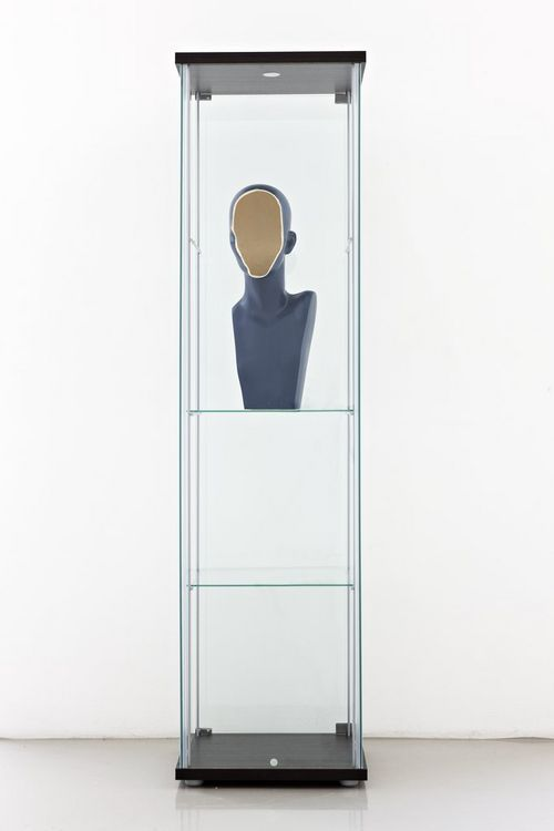 "iheartmyart:  Nina Beier, Facing Figure, 2012, Modified plastic bust in glass vitrine, 60 x 30 x 30 cm / 23.62 x 11.81 x 11.81"", Unique / SONB/S 2012-012"