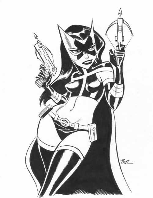 keaneoncomics:  Bruce Timm HUNTRESS Inked Pin Up