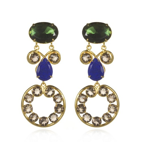 Green Amethyst, Lapis, and Iolite Earrings