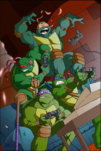 waffleisdelicious:  TMNT PS2 by ~MBorkowski  Even though those are PS2 controllers, I imagine them playing Mario Kart shooting turtle shells at each other.