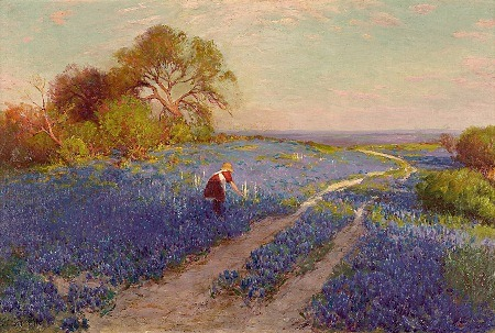 Bluebonnet Scene with a Girl by Julian Onderdonk