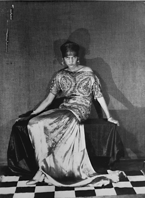 A fantastic 1924 photograph by Man Ray of Peggy Guggenheim wearing a Paul Poiret dress via whataboutbobbed