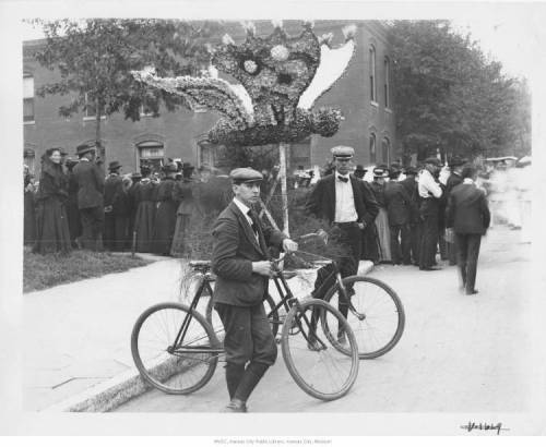 "afrormosia:  ""Priests of Pallas Parade Float. Men holding bicycle contraption bearing float in shape of oversized butterfly,"" 1900. Missouri Valley Special Collections, Kansas City Public Library, Kansas City, Missouri, 10005619"