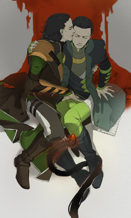 pancakesandplaid:  missbutterflywitchlady:  [Thor]loki and [The Avengers]Loki by ~liduke  The way Avengers!Loki sideglances, it's as though Thor is there or something
