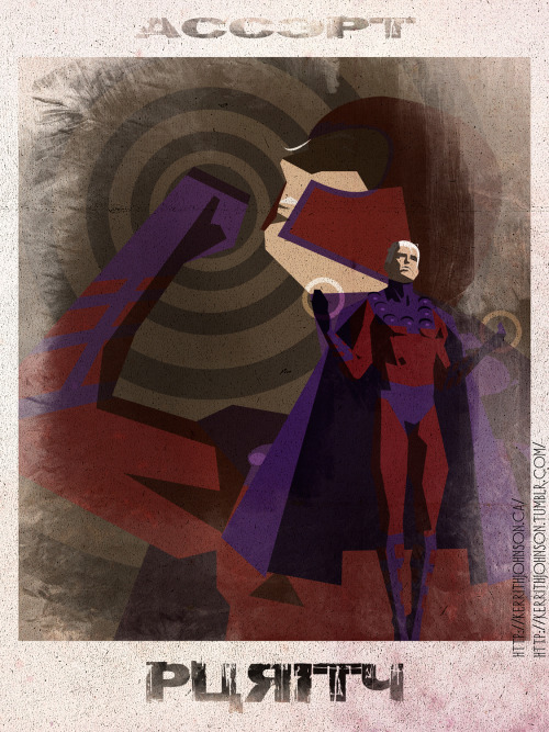 """Accept"" series: Keeping Villains iconic but nefarious. Spotlight: Magneto! I thought a lot about Magneto while I was doing this piece (Ya don't say!) and I think he's a very noble but very tragic figure. An example of a man who in trying to fight what he absolutely hates he becomes exactly that. Whether he can see it or not. I suppose that is what true villainy is. Remember one man's Hero is anothers Villain!  Kerrith - Master of Magnetism  My Tumblr