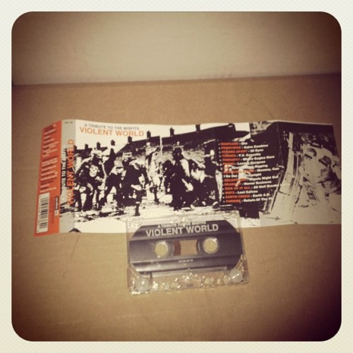 "#violentworld ""a tribute to the #misfits"" comp. #tape #snapcase #pennywise #shadesapart #prong #108 #bouncingsouls #goldfinger #deadguy #sickofitall #nofx #earthcrisis #farside #punk #hardcore (Taken with Instagram at Hard Press Headquarters Lynwood California)"