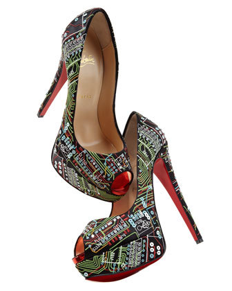Christian Louboutin Lady Peep Geek Embroidered Pump Embroidered with microchip-inspired patterning, numbers, and sequins, a satin upper boasts eye-catching shine balanced with texture.