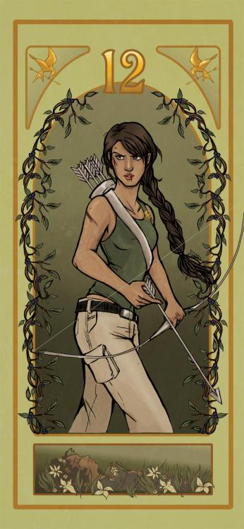 ratgirlstudios:  I had planned to have this up to coincide with the DVD release last Saturday, but wasn't able to get it finished in time. It's finished now though, so here's my art nouveau (ish) Katniss Everdeen.