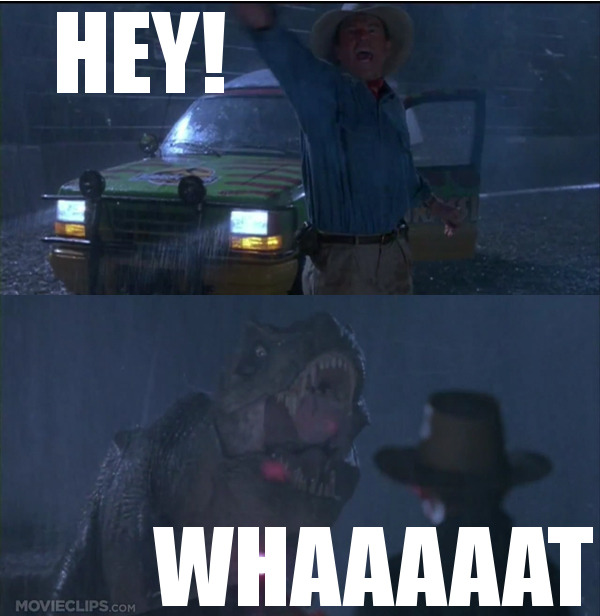 Paul and I made this after watching Jurassic Park for the 245,745th time.  …and then we got to wondering if anyone would ever take the time to add subtitles for the dinosaurs. I imagine it would add a whole new dynamic.
